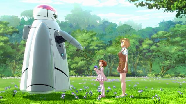 Duas irmãs felizes no bosque e um robô amigo